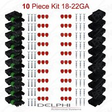 Delphi Weather Pack 3 Pin Sealed Connector Kit 18-22 GA !!!10 COMPLETE KITS!!