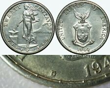 1944-D/S US-Philippines 20 Centavos ~ OMM Variety ~ AU Detail ~ A#12.04a ~ MX653