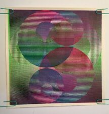 Vintage Blacklight Poster Matrix Circles Silkscreen Pinup 1970 uv day glow neon