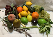 Vintage lot 31 Fake Faux Rubber Plastic Artificial FRUIT grapes, Apples Lemons
