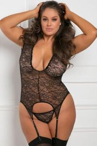 New Sexy Plus Size Lingerie Black Lace Garter Chemise Set Matching Gstring