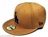 New Era 59Fifty MLB Hat Los Angeles Dodgers Wheat Black Custom Fitted 5950 Cap