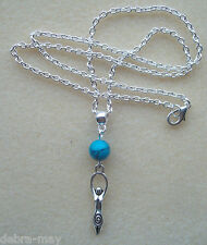 Turquoise Earth Mother Goddess Charm Amulet Necklace - Psychic Protection