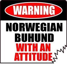 "Warning Norwegian Buhund With An Attitude 4"" Tattered Edge Dog Canine Sticker"