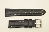 20mm Genuine Leather BLACK  Watch Band padded strap silver tone buckle