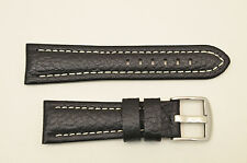 26mm Genuine Leather BLACK  Watch Band STRAP padded silver tone buckle