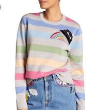 Marc Jacobs Stripe Patch Rhinestone Detail Sweatshirt Gray Pink $525 Sz S NWT