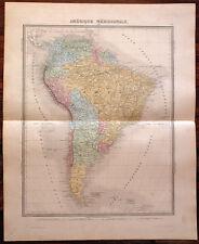 Carte de l'AMERIQUE MERIDIONALE - 1874. 43 x 53 cm.- South America, ...du sud
