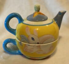 Zrike 3 piece hand painted Ceramic Teapot, Cover, & Cup, Tea for One 10oz