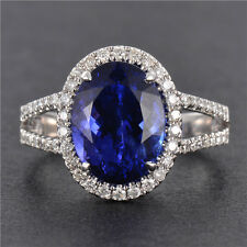 AAAA 4CT Natural Tanzanite Diamond Engagement Ring Solid 18K White Gold Jewelry