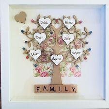 Family Tree Frame Personalised Scrabble Father Day Gift Love Hearts Names Mum