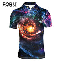 Galaxy Shirt Mens Casual Fashion Short Sleeve Cassic Loose Fit Button Front Tops