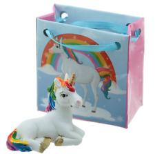 New Collectible Resin Mini White & Rainbow Tail Lucky Unicorn Figure & Gift Bag
