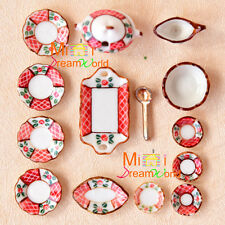 Dollhouse Miniature Porcelain ART Dinnerware dishes saucers soup jar spoon Set
