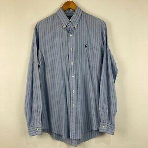 Ralph Lauren Mens Button Up Shirt Sleeve Size M Blue Striped Long Sleeve 206.01
