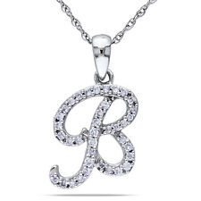 Amour 10k White Gold Diamond 'B' Initial Necklace