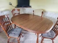 $150 DOWN NOW!! Low Priced Vintage Very Heavy Oval Oak Dining Table w/ 2 Leaves