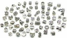 50 x Mixed TIBETAN SILVER CHARMS BEADS Fit European Charm Bracelets