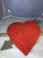 """Vintage Valentine Decorations Melted Plastic Popcorn 14"""" Red Heart Silver Arrow"""