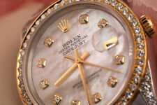 Rolex 36mm Datejust SS & 18K Watch White Mother of Pearl Diamond Numbers & Lugs