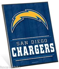 "NFL San Diego Chargers Logo Premium 8"" x 10"" Solid Wood Easel Sign"
