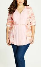 Plus Sizes Loose Fitting Pink Longline Tunic Printed Front Pleat Size 18.
