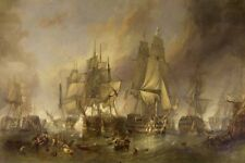 Vintage Home Decor Sailboat Nautical ship Battle Oil Painting Printed On Canvas