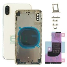 For Apple iPhone X Housing Metal Frame Glass Back Chassis Cover - Silver