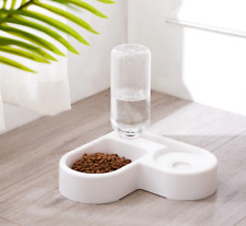 Dog Feeder Bowl Automatic Water Fountain With Food Bowls Wall Corner Save Space