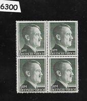 #6300    Nice MNH 1RM Adolph Hitler Third Reich stamp block / 1942-1944 /  Sc524