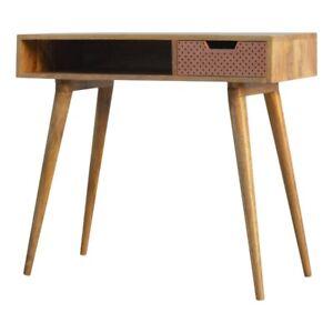 Copper Wooden Desk With Single Drawer | Copper Home Office Desk | Computer Desk