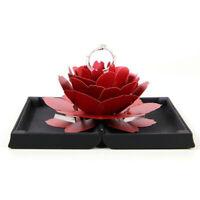 Folding Rotating Rose Ring Holder Box Wedding Proposal Engagement Gift Display