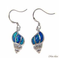 925 Sterling Silver Rhodium Hawaiian Conch Shell Blue Opal Hook Wire Earrings