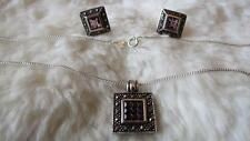 """Sterling Silver Square Amethyst Marcasite Pendant 18"""" Chain Necklace Earrings"""