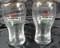 "Vintage Heineken Beer Glass Red Star Gold Rim 5"" Tall Set Of 2 Glasses Man Cave"