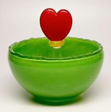 "Rony Plesl Art Glass Cased Bowl Hand Blown Green With Red Heart  ""Love""  Czech"