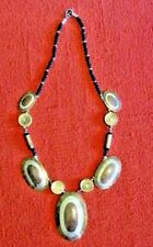 LARGE TRIBAL ETHNIC NECKLACE MIXED METAL BRASS SILVER AND COPPER VINTAGE LONG