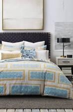 Dwell Studio Medina Full Queen Duvet Cover 2 Shams White Blue Gold New