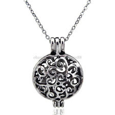 V65  Vintage Flat Round Locket Diffuser Necklace Women Aromatherapy Steel 16""