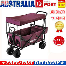 ENKEEO Foldable Utility Beach Wagon Collapsible Outdoor Cart + Removable Canopy
