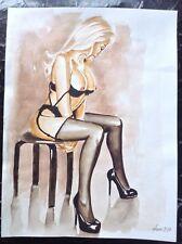 Mujer Desnuda Arte Original Hermosa Pintura Fantasía Pinup Erótico rubia Lingerie