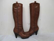 COLE HAAN Brown Leather Knee High Heel Platform Boots Size 7.5 B Style D20946