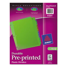 Avery Preprinted Monthly Plastic Divider Jan-Dec 1/Set Assorted Divider/Tab
