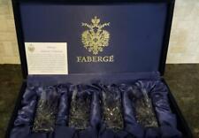 Faberge Crystal, 4 Vodka Shot Glasses, D'Arcy pattern.