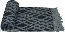 DUBLIN BLACK LUXURIOUS SOFT TASSELED THROW BLANKET 140CM X 200CM #NOSIDAM
