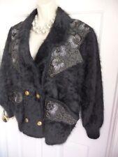 Susanne M Jacket Cardigan High Quality Angora Leather Gold Bat Sleeves UnwornVnt