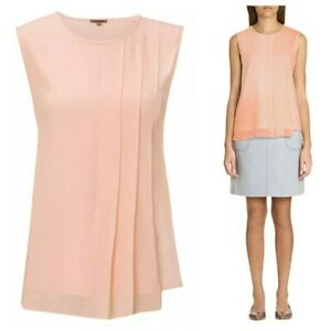 JIGSAW Silk Pleat Overlay Sleeveless Nude Top. Size M