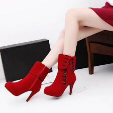 Women's Ankle Boots Fashion Zipper High Heel Winter Autumn Slip-on Shoes UK#