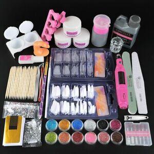 Full Manicure Set Kit With Drill Machine Acrylic Liquid Nail Glue Glitter Powder