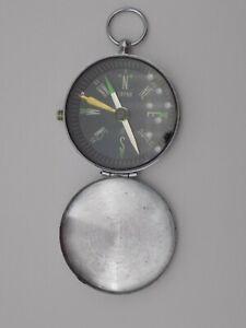 "Compass Doxa Steel Case Luminescent Locking 2""Diameter Made in Japan Vintage GUC"